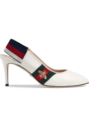 Gucci Leather Web mid-heel slingback pumps - White