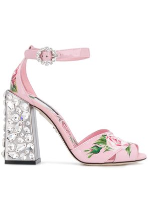 Dolce & Gabbana embroidered heel printed sandals - Pink