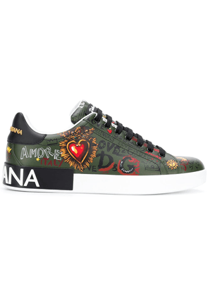 Dolce & Gabbana leather lace-up trainers - Green