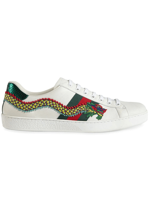 Gucci Dragon Ace embroidered leather sneaker - White
