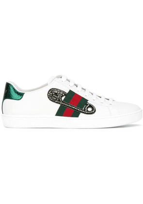 Gucci GG Vintage Web safety pin sneakers - White