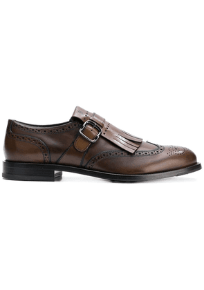 Tod's fringed buckled shoes - Brown