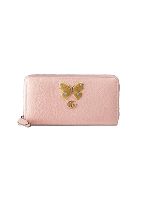 Gucci Leather zip around wallet with butterfly - Pink