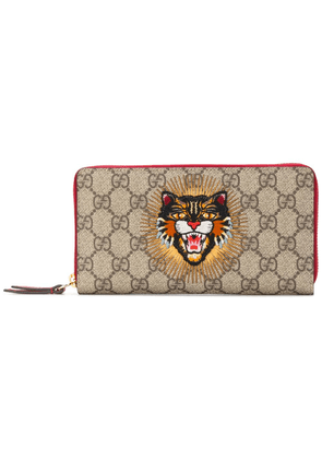 Gucci GG Supreme angry cat wallet - Neutrals