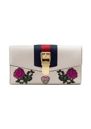 Gucci Sylvie embroidered leather continental wallet - White