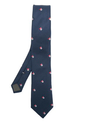 Canali flag print tie - Blue