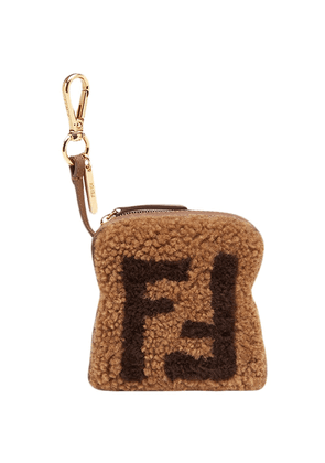 Fendi Toast FF logo charm - Brown