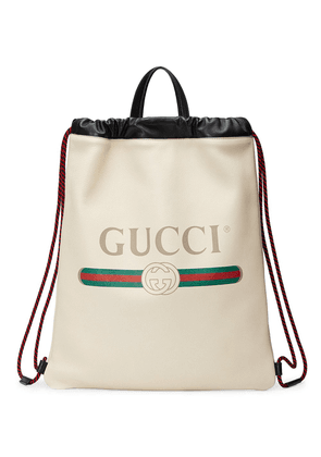 Gucci Gucci Print leather drawstring backpack - White
