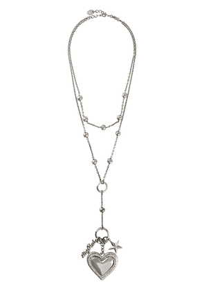 Red Valentino RED(V) heart shaped chain necklace - Metallic