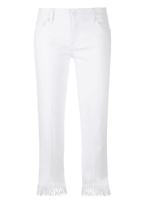 7 For All Mankind fringed trim skinny jeans - White