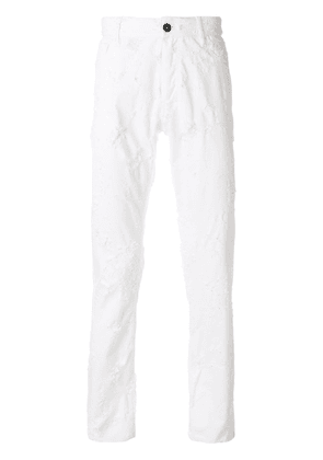 Ann Demeulemeester distressed slim-fit jeans - White