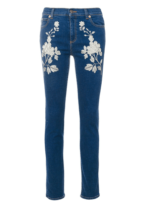 Gucci embroidered skinny jeans - Blue