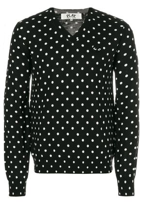 Comme Des Garçons Play embroidered heart polka dot jumper - Black