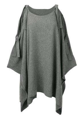 Cashmere In Love cashmere cape with bow ties - Grey