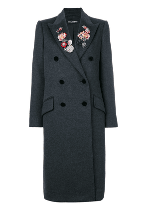 Dolce & Gabbana floral and gem detailed double breasted coat - Grey