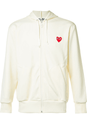 Comme Des Garçons Play embroidered zipped hoodie - White