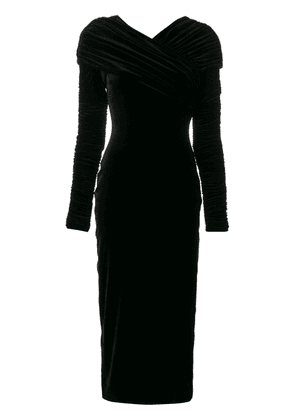 Christopher Kane stretch velvet long sleeve dress - Black