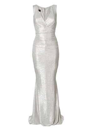be134293afe Talbot Runhof v-neck ruched gown - Grey