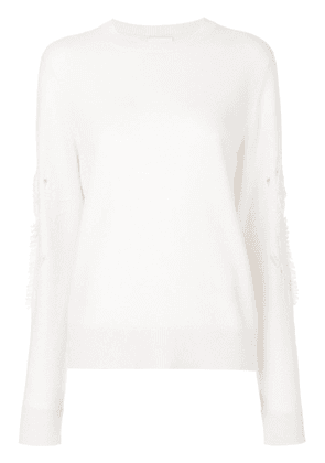 Barrie Romantic Timeless cashmere round neck pullover - White