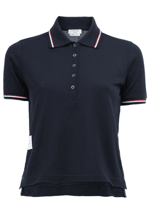 Thom Browne SHORT SLEEVE POLO SHIRT IN NAVY FINE MERCERIZED PIQUE -