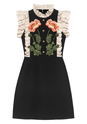 Gucci Floral embroidered wool silk dress - 1467 Noir