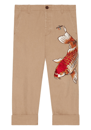 Gucci Cotton pant with fish appliqué - Neutrals