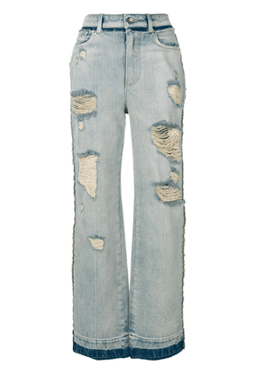 Dolce & Gabbana ripped wide leg jeans - Blue