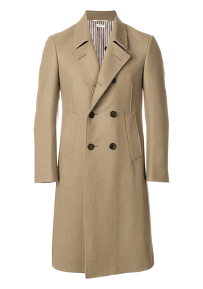 Thom Browne Melton Wool Pintuck Bal Collar Overcoat - Neutrals