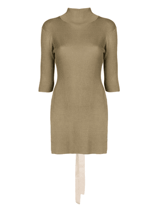 Erika Cavallini long-sleeve ribbed top - Brown