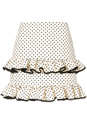 Valentino polka dot frilled skirt - Neutrals