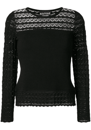 Boutique Moschino lace panel knitted blouse - Black