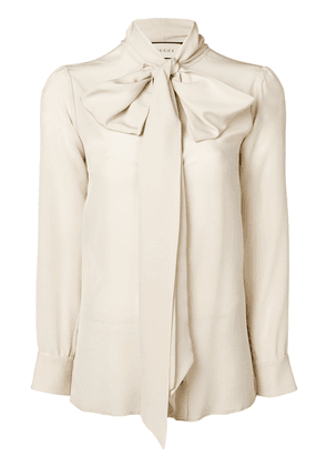 Gucci bow-neck ladybug buttons blouse - Neutrals