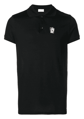 Saint Laurent card embroidered polo shirt - Black