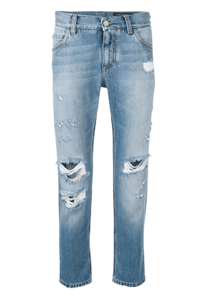 Dolce & Gabbana distressed cropped jeans - Blue