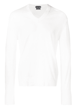 Tom Ford long-sleeve fitted sweater - White