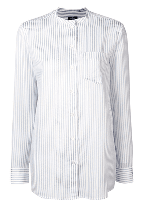 A.P.C. striped mandarin collar shirt - White