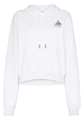 Off-White arrow motif cropped hooded cotton jumper