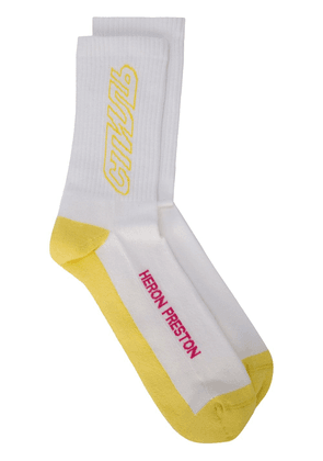 Heron Preston long CTNMB outline socks - White