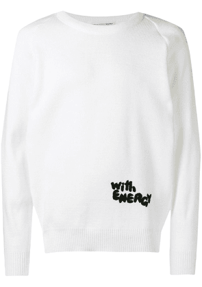Comme Des Garçons Shirt With Energy ribbed knit jumper - White