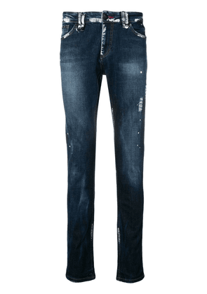 Philipp Plein paint splat slim fit jeans - Blue