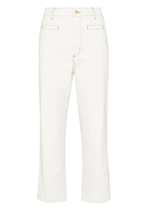 Loewe high-waisted multi-pocket cropped jeans - White
