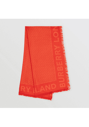 Burberry Monogram Silk Wool Jacquard Large Square Scarf, Red