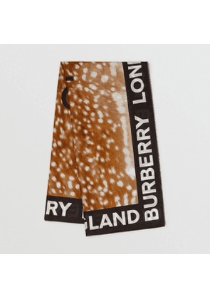 Burberry Slogan Animal Print Cotton Silk Large Square Scarf, Brown
