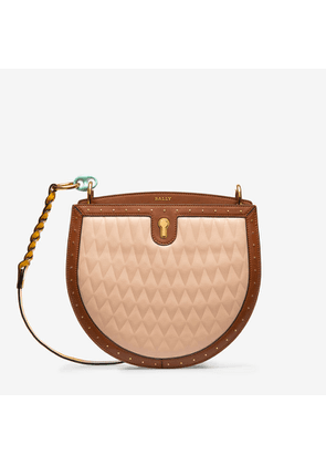 Bally Cecyle Pink, Women's quilted calf leather crossbody bag in blush