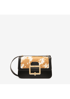 Bally The Janelle Bag No Colour, Women's calf leather and calf hair shoulder bag in bianco and cuoio