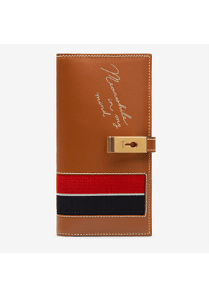 Bally Amy Brown, Women's calf leather and fabric continental wallet in tan