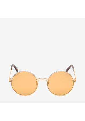 Bally Sunkist Round Frame Sunglasses Brown, Women's Asian fit sunglasses in shiny rose gold and orange