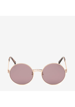 Bally Sunkist Round Frame Sunglasses Pink, Women's Asian fit sunglasses in shiny rose gold and pink