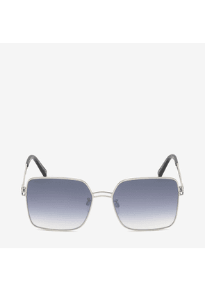 Bally Sunkist Square Frame Sunglasses Grey, Women's Asian fit sunglasses in shiny palladium and gradient blue