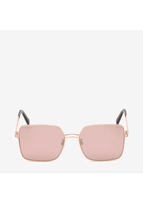 Bally Sunkist Square Frame Sunglasses Pink, Women's Asian fit sunglasses in shiny rose gold and pink